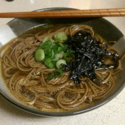 All Natural Ramen Noodles Recipe - Soba noodles are simmered in a homemade broth made with soy sauce and ground ginger in this quick and easy ramen noodle recipe.