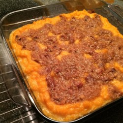 Chef John's Sweet Potato Casserole  Recipe and Video - Sweet potato casserole flavored with maple syrup has a crunchy topping of pistachios and brown sugar for a side dish that's perfect for holiday meals.