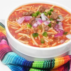 Quick Fideo Recipe - Mexican spaghetti, also known as fideo, is simmered with ground beef and plenty of spices creating a quick weeknight dinner.