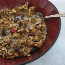 Fruit 'n' Honey Granola Recipe - Great tasting granola sweetened with honey. A very versatile recipe as your favorite nuts and dried fruit can easily be substituted for those listed.