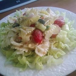 Summertime Chicken and Pasta Salad Recipe - Chicken tenderloins, pasta, hard boiled eggs, and sliced veggies are chilled with Italian-style dressing and served cold over sliced romaine hearts.