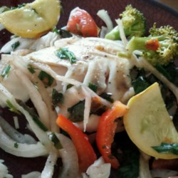 Lenie's Herbal Fish Recipe - A variety of veggies, fresh herbs, and any fish fillet...baked. I like to serve this fish dish with rice, it makes for a delicious meal!
