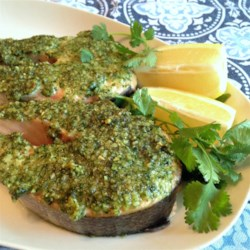 Cilantro and Walnut Crusted Salmon Recipe - Cilantro and walnut crusted salmon is a quick and easy way to prepare salmon with a hint of refreshing pesto flavor.