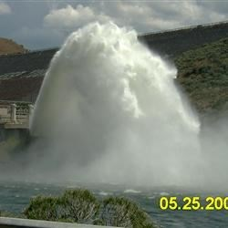 Huge Roostertail of water shooting out of Lucky Peak Dam. Boise, Idaho