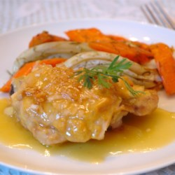 Orange Juice Chicken Recipe - Chicken baked with an orange juice/mustard/brown sugar mixture which is then transformed into a light, tangy orange sauce.