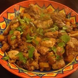 Hawaii Chicken Recipe -  Pineapple and bell pepper in a thick, sweet soy sauce make a dandy glaze for baked chicken.