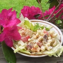 Bacon and Macaroni Salad Recipe - Bacon, eggs, and tomatoes start the picnic right in this macaroni salad!