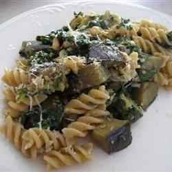 Pasta Melanzana Recipe - A quick, flavorful way to cook eggplant. This is a tasty one-dish meal prepared with spinach and Parmesan cheese.