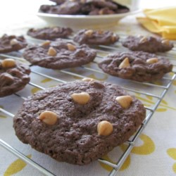Peanut Butter Chip Chocolate Cookies Recipe - Peanut butter chips are folded into a rich chocolate cookie dough and baked to perfection. Warning: these are so good you may be tempted to eat the entire batch.