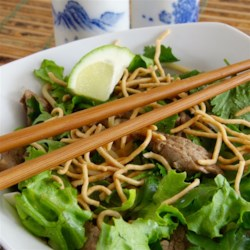 Cao Lau (Vietnamese Noodle Bowl) Recipe - Cao Lau, a favorite Vietnamese noodle dish, is made with bean sprouts, fresh rice noodles, and pork.