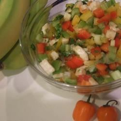 Hot Banana Salsa Recipe - Fresh bell and chile peppers are balanced with cilantro, banana, and brown sugar to deliver a uniquely spicy and sweet salsa that's best consumed shortly after making it.