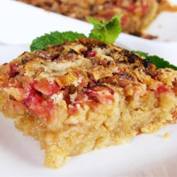 Gluten-Free Rhubarb Bars Recipe - Rice flour is the base of these delicious gluten-free rhubarb bars; serve with whipped topping or ice cream.