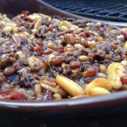 Party Beans Recipe - This is probably the best baked bean recipe that I have come across. Three kinds of beans are baked with ground round and bacon. I use a 5 quart casserole dish.