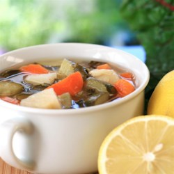 Hamusta Soup Recipe - Hamusta soup, a popular Middle Eastern vegetable soup, gets a hit of tanginess from lemon juice added to the broth.