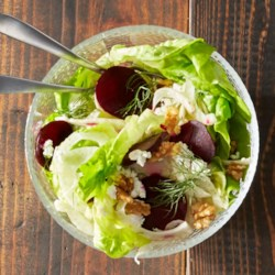 Roasted Beet, Goat Cheese and Fennel Salad Recipe - Serve this lemony goat cheese salad as a side dish or as a meal with crunchy walnuts and tender butterhead lettuce. Each tangy-fresh salad offers fewer than 200 calories.
