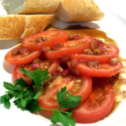Mediterranean Summer Tomatoes Recipe - This is a very simple and yummy side dish.  I learned in while living in France from an old Mediterranean lady. This is always a hit!