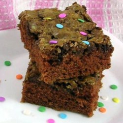 Grandma's Chocolate Zucchini Brownies  Recipe - Moist and wonderful chocolate brownies, no frosting needed. These are perfect right out of the oven!