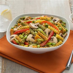 Catelli Bistro(R) Asian Sesame Pasta Salad Recipe - This exotic pasta salad with edamame and prepared sesame dressing features authentic Asian flavours. It pairs well with grilled pork, steak or seafood.