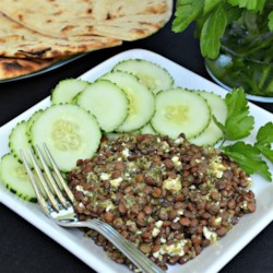 Lentil Salad with Chimichurri Sauce Recipe - Steamed lentils and feta cheese are tossed in a homemade chimichurri sauce made with fresh herbs creating an easy lentil salad.