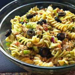 Tuna Souvlaki Pasta Salad Recipe - A dinner-style pasta salad tossed with tuna, feta cheese, roasted red peppers, and Greek vinaigrette dressing is perfect for weeknights or picnics.
