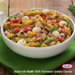 Catelli Bistro(R) Chicken and Red Pepper Caprese Pasta Salad Recipe - This zesty and colourful dish is perfect for a summer dinner.