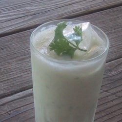 Savory Lassi   Recipe - This is an Indian-style yogurt lassi drink that's tangy, refreshing, subtly spiced with cumin and cilantro, but not sweet.