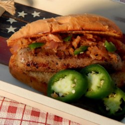 Murica Dogs Recipe - Italian sausage, jalapeno pepper, and kimchi all work in their own ways to make one all-American summertime sandwich your friends will love.