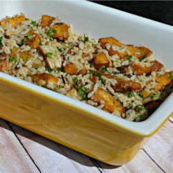 Balsamic Roasted Fennel and Acorn Squash Rice Casserole Recipe - This fennel and acorn squash casserole with savory herb rice makes an easy and delicious side dish.