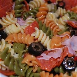 Tri-Color Pasta Salad Recipe - Tri-color pasta, American cheese and broccoli tossed with Italian-style dressing.