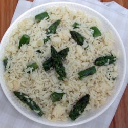 Parmesan Asparagus Rice Recipe - Aromatic basmati rice cooked with asparagus in vegetable stock and butter is blended with Parmesan cheese just before serving.