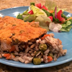 Super Veggie Chicken and Wild Rice Casserole Recipe - This chicken and wild rice casserole has lots of veggies, and it appeals to even the pickiest eaters.