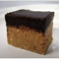 Peanut Butter Candy Bars Recipe - No-bake bars with a peanut butter graham cracker base and a chocolate top.