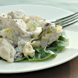 Betty's Chicken Salad Recipe - This classic chicken and pasta salad has celery, hard-cooked eggs, and slivered almonds. It's perfect for you next wedding or baby shower.