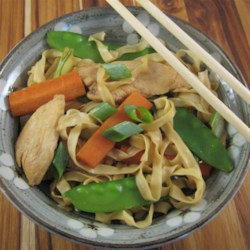 Chinese Noodle Chicken Recipe - Chicken and an abundance of vegetables are tossed with noodles and teriyaki sauce in this tasty fare.