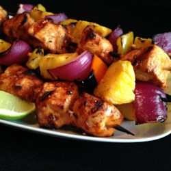 Chili-Lime Chicken Kabobs Recipe - Chicken cubes are marinated in a chili-lime sauce and then grilled. Serve with white long grain rice and grilled veggies for a delicious dinner.
