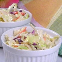 Rick's Key West Pink Coleslaw Dressing Recipe - A pale pink coleslaw dressing whips up in just minutes and is perfect to pour over a bowl of tri-colored coleslaw mix for a quick and colorful slaw.