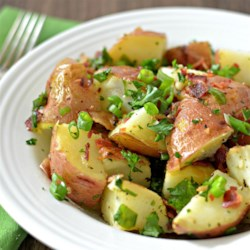 Grilled Potato Salad Recipe - Grilled potato salad with bacon, green onion, and parsley is an easy, mayo-free way to prepare potato salad in the summer.