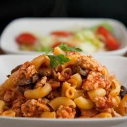 Turkey Goulash Recipe - Lean turkey is simmered with tomatoes and pasta.
