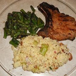 Lemon Herb Pork Chops, Fasoliyyeh Bi Z-Zayt (Syrian Green Beans with Olive Oil), and Lemony Couscous