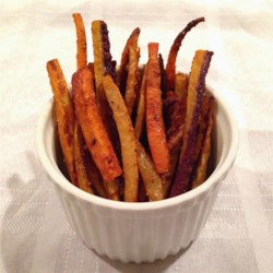 Cajun Rainbow Carrot Fries Recipe - Cajun rainbow carrot fries tossed in olive oil and a touch of coconut sugar are a colorful appetizer or an accompaniment to sandwiches.