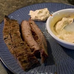 Easy BBQ Flank Steak with Chipotle Mayo Recipe - Grilled, marinated flank steak is served with a spicy chipotle mayonnaise sauce.