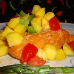 THIS...is what I usually eat, healthy salmon broiled or BBQ'd with fresh mango salsa....