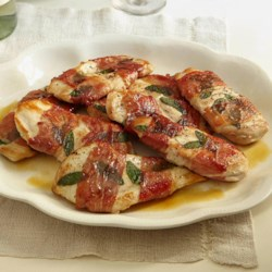 Sandy's Chicken Saltimbocca Recipe - Thin chicken cutlets and sage leaves are wrapped in prosciutto and pan-fried for this quick and easy main dish.
