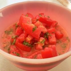 Tomato Tang Salad Dressing Recipe - A tangy, oil-free salad dressing with chopped tomato, herbs, and mustard.