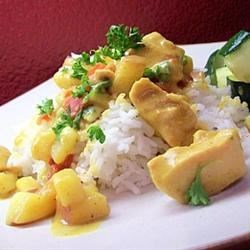 Sherry Chicken Curry Recipe - Chicken breast simmered with sherry, beef bouillon, peanut butter and curry powder. Other spices and the addition of coconut milk all add up to an unusual, creamy curry chicken.
