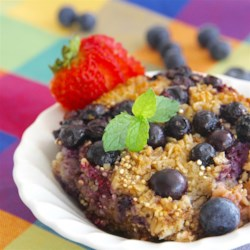 Berry Baked Oatmeal Recipe - Quick and easy baked oatmeal with berries, chia seeds, and oat bran will keep you full and energized until lunchtime.
