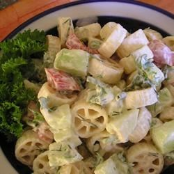 Cucumber Pasta Salad Recipe - A refreshing cucumber salad with rotelle pasta and a creamy dressing.