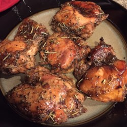 Honey-Balsamic Chicken Recipe - A marinade of balsamic vinegar, honey, olive oil, thyme, and rosemary bring plenty of flavor to bone-in chicken thighs for an easy main course.