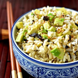 Easy Wakame Brown Rice Recipe - I threw this together in a hurry one day and loved the way it came out. It's simple, wholesome, and that little bit different. You can get dried wakame seaweed in health food or Asian specialty stores. Serve warm or cold.