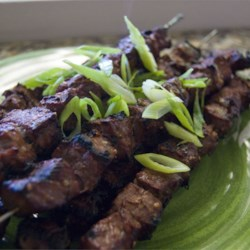 Beef Yakitori Recipe - This simple soy-ginger marinade can be made in minutes, and the skewered beef takes only minutes to grill. Marinate the beef while you are at work and pop the skewers on the grill when you get home.